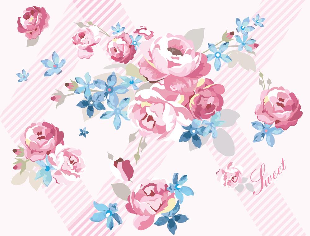 春の陽のイングリッシュローズ 薔薇のパターン