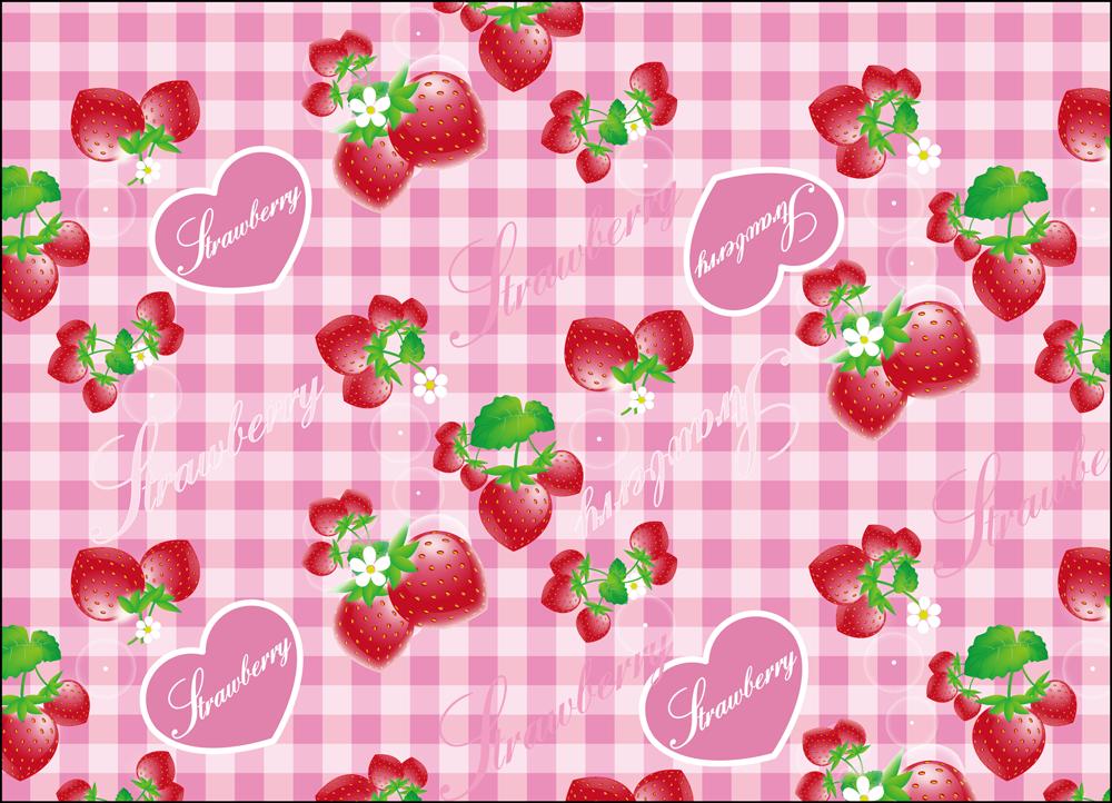 いちごのパターン ピンク