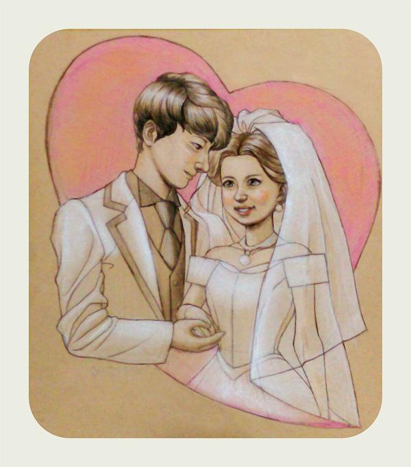 花嫁と花婿の似顔絵イラスト