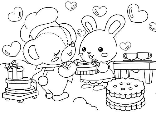 オリジナルぬりえ素材バレンタインのファンシークマさん Alicemix